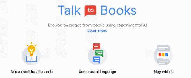Google AI service: Talk to Books, home screen