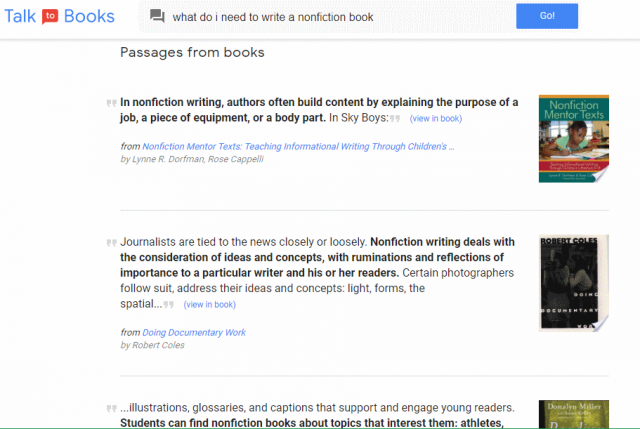 Google Talk to Books answers questions with books