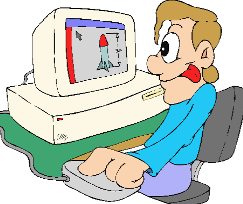 cartoon character working with computer