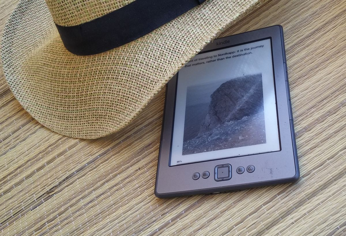 Amazon Kindle e-reader in sunshine
