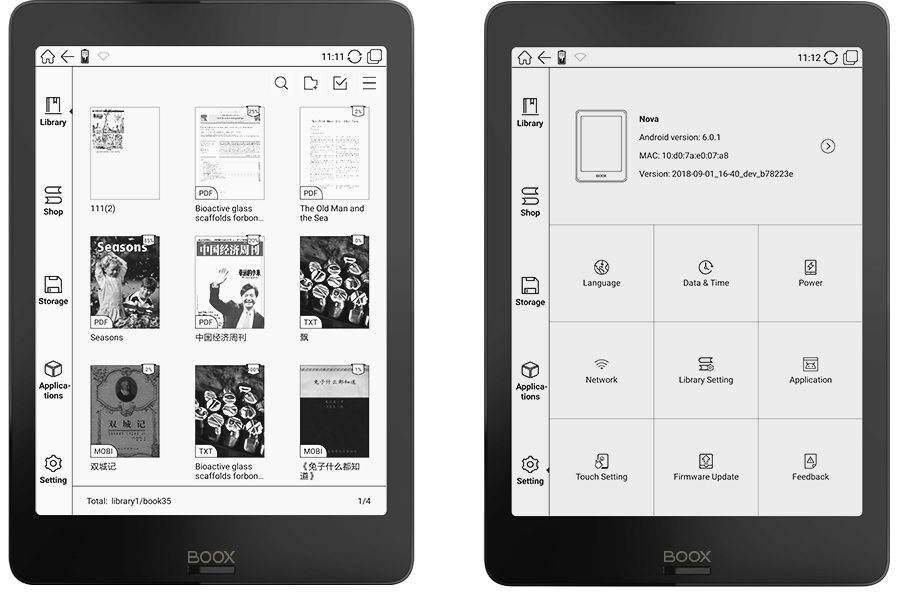 Onyx Boox Nova e-reader device 7.8-inch screen