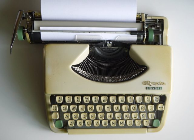 Olympia mechanical typewriter ready for writing