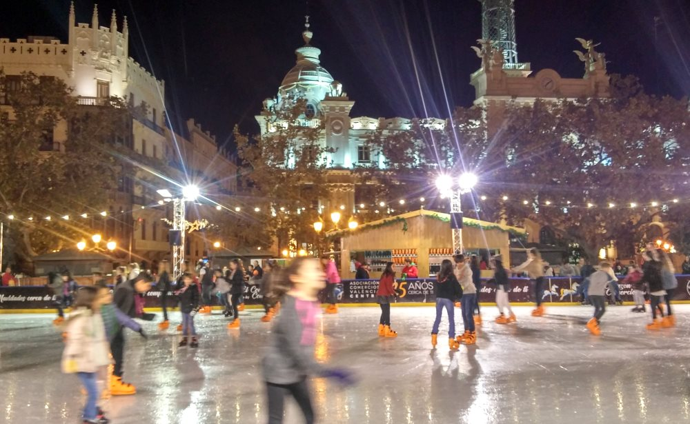 oce-skating at town hall square in Valencia, Spain, Europe