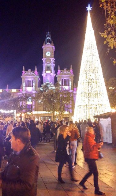 Valencia town hall with christmas lights