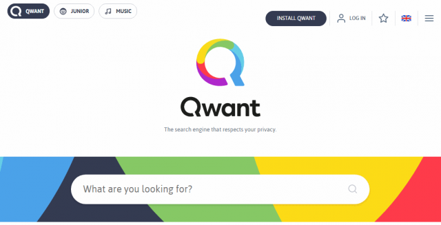 Qwant search engine home page