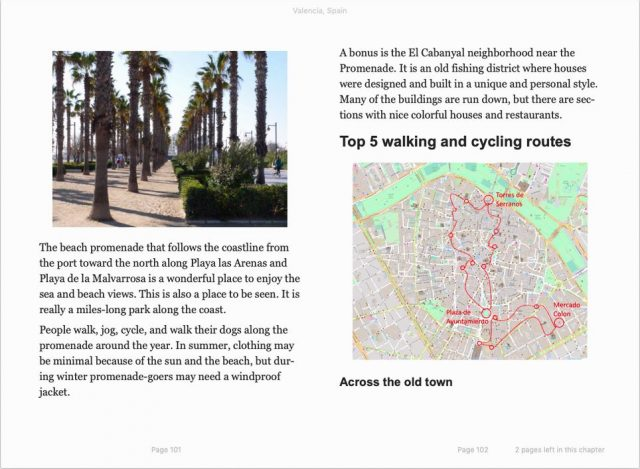 travel guide Valencia, Spain - sample page