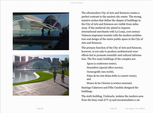 the city of arts and sciences,  sample page from book Valencia, Spain