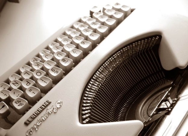 mechanical typewriter, close up on keyboard