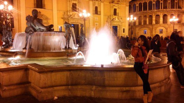 Plaza de la Virgen in Valencia during Fallas fiesta