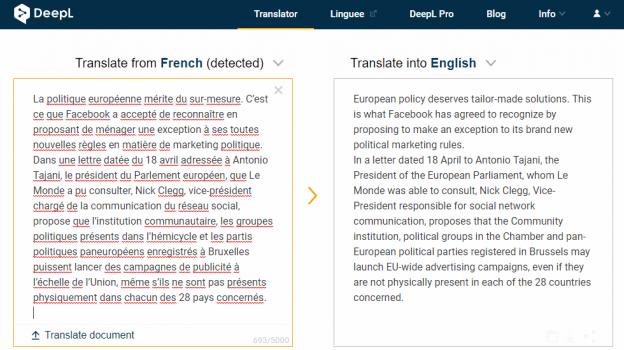 deepl online translator screen shot