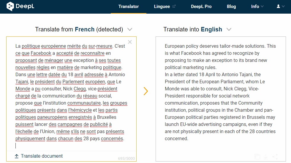 deepl online translator screen shot