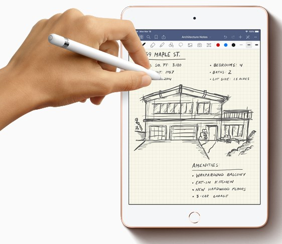 apple ipad mini 2019, handwriting and drawing