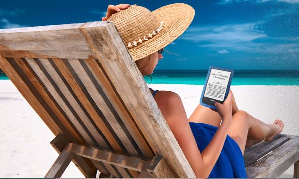 Pocketbook Aqua e-reader, woman reading on beach