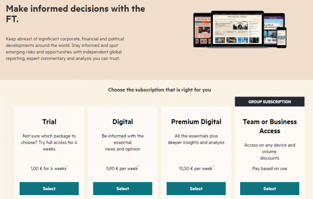 Financial Times, subscription options