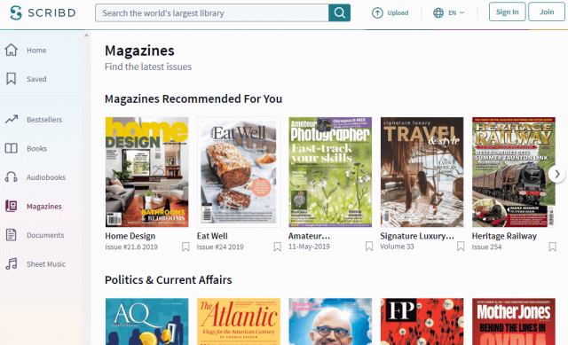 Scribd monthly subscription to ebooks, magazines, audiobooks