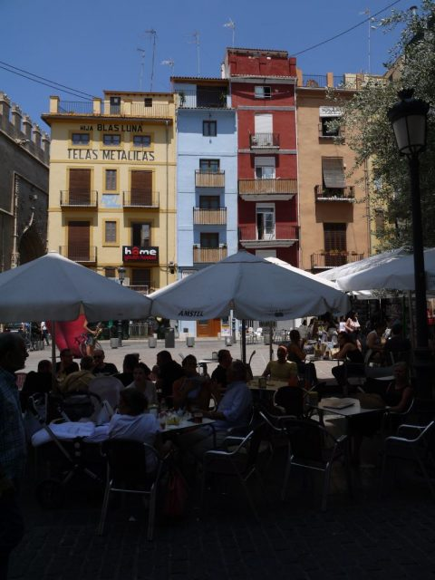 a plaza in the old city center of Valencia, Spain