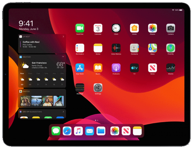 ipados dark mode in Apple iPad tablet