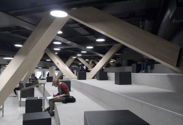 workspace in Oodi library, Helsinki