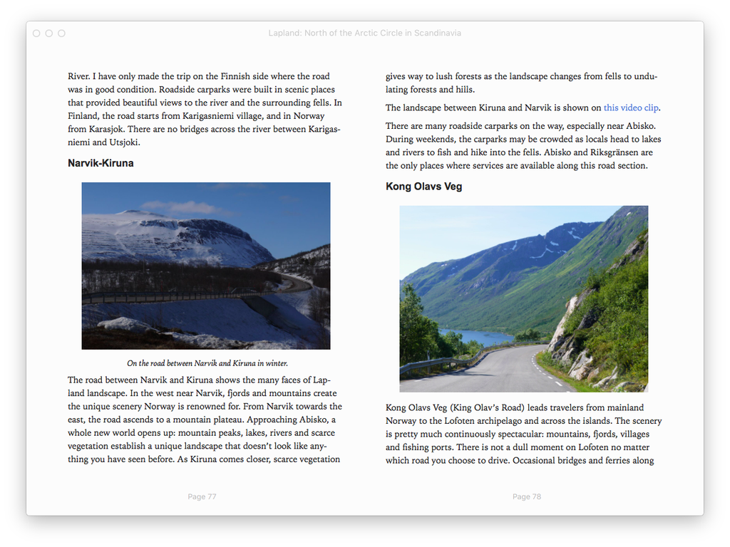 travel guide to Lapland, Nordic, Europe, sample page