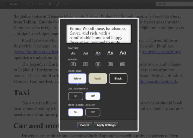 kindle books in browser, options