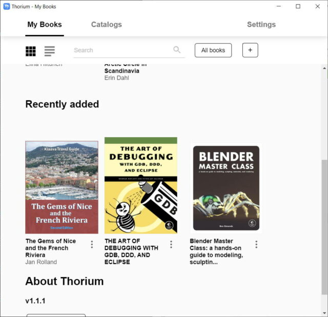 thorium reader ebook library home page