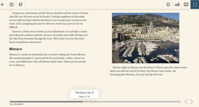 two page sample from guidebook to Provence Mediterranean coast: Nice and Riviera