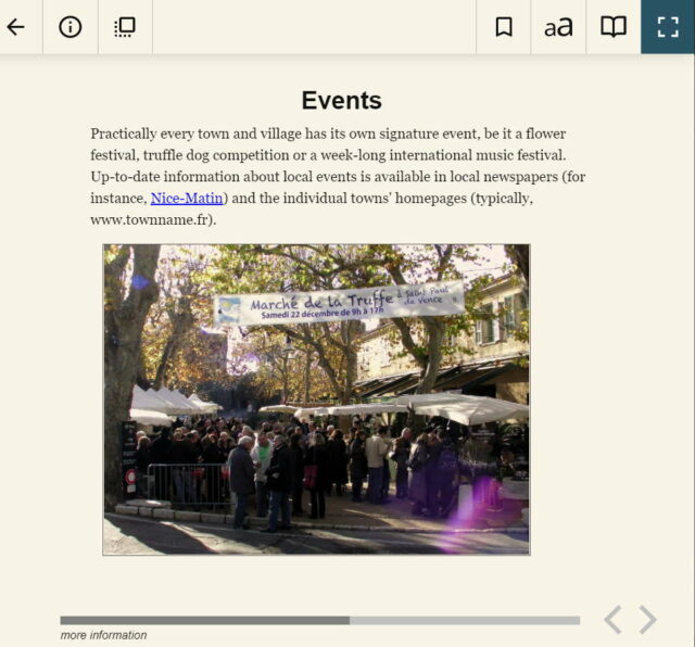 sample page (screen capture) of travel guidebook to Nice, France and Riviera coast