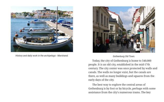 screen capture of travel guidebook Gothenburg, Sweden