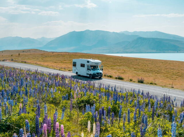 motorhome on a road. photo by sebastien goldberg