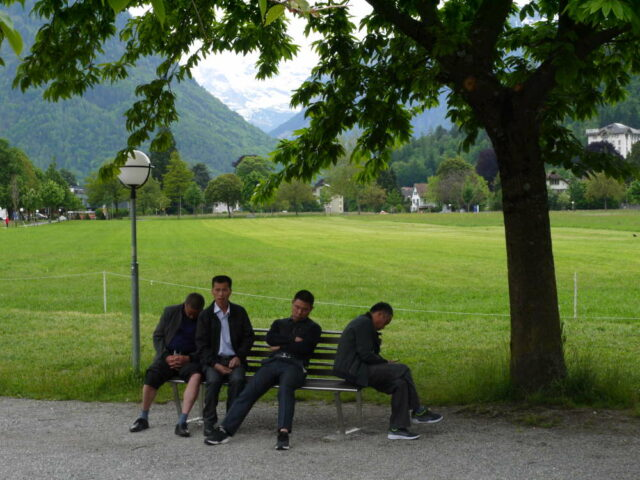 switzerland, interlaken, a group of tourists take a break in a park