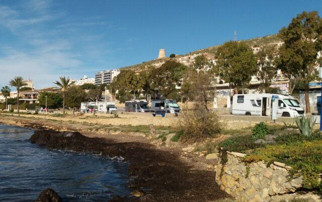 motorhomes (RVs) parked at Mediterranean coast