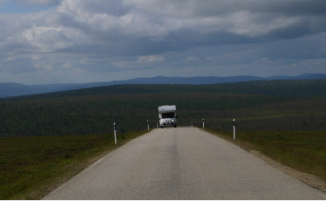 motorhome ascending on a mountain (fjell) in Lapland
