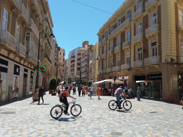 cartagena, spain, costa calida. shopping street in old town.