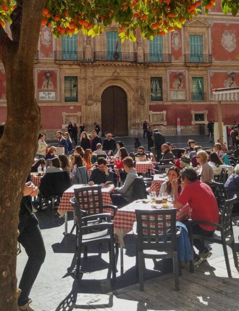 murcia, spain, costa calida. central plaza of city